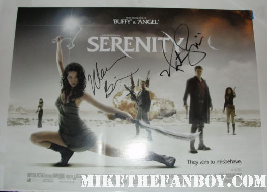 nathan fillion morena barrarin signed autograph serenity firefly uk quad mini poster rare promo