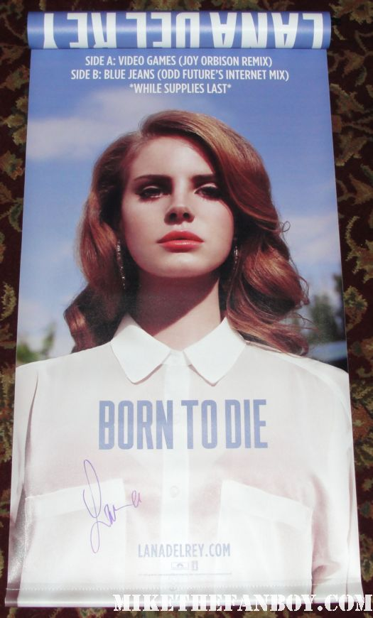 lana del rey signed autograph born to die rare promo vinyl record store promo banner picture poster