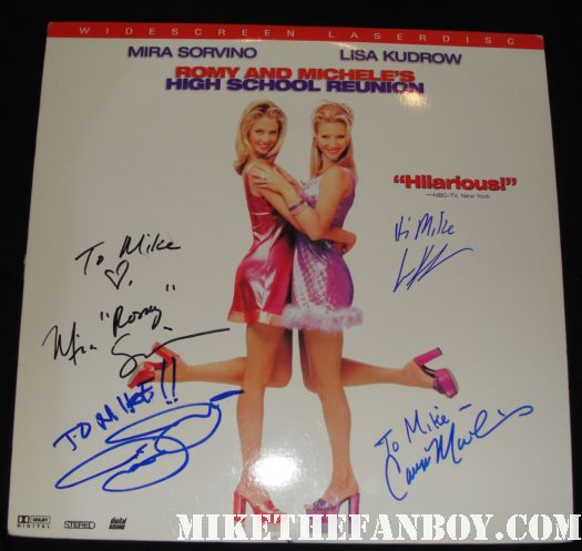 lisa kudrow justin theroux mira sorvino cameron manheim signed autograph romy and michele's high school reunion laser disc autograph