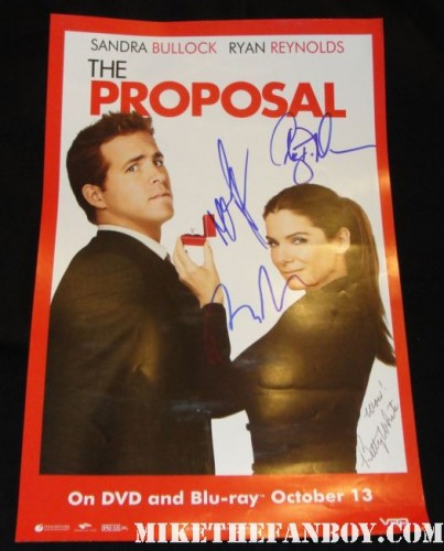 ryan reynolds malin akerman betty white craig t nelson signed autograph the proposal rare mini movie poster promo