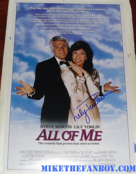 lily tomlin signed autograph promo all of me promo mini poster movie poster one sheet rare hot sexy 1980s classic