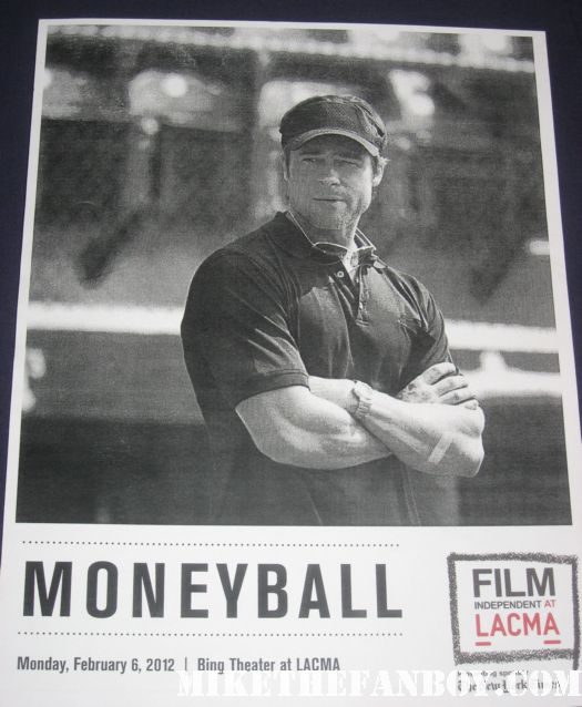 lacma moneyball screening and q and a with brad pitt and jonah hill hot sexy rare program daybill