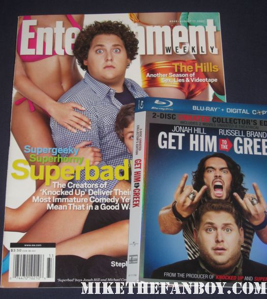 jonah hill rare entertainment weekly magazine cover with michael cera and get him to the greek blu ray slipcase cover russell brand