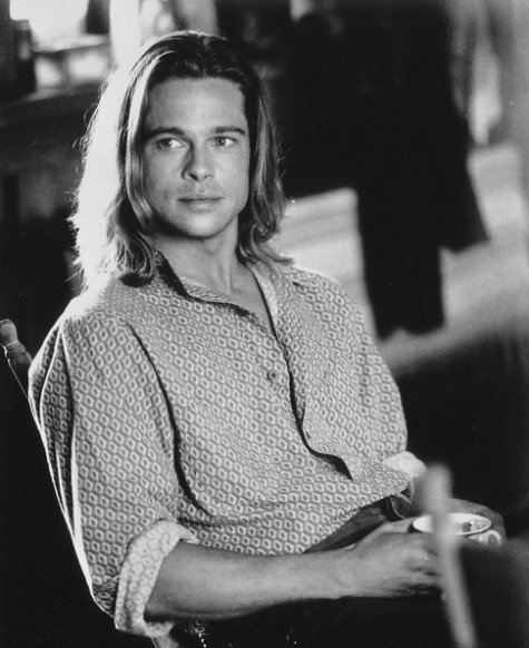 brad pitt rare promo black and white sexy hot legends of the fall promo press still long hair shaggy young