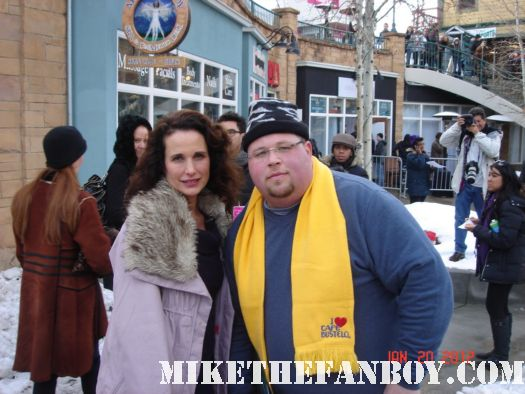 Chuck our man in texas poses with 5th quarter star andie mcdowell green card at sundance 2012 autographs signed