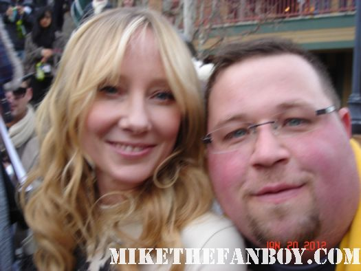 Chuck our man in texas poses with Anne heche former lesbian at sundance 2012 autographs signed