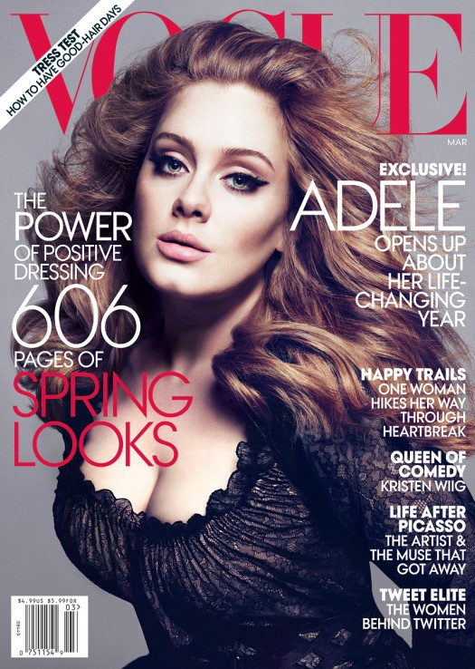 adele magazine cover vogue march 2012 hot sexy rolling in the deep singer photo shoot rare promo rolling stone