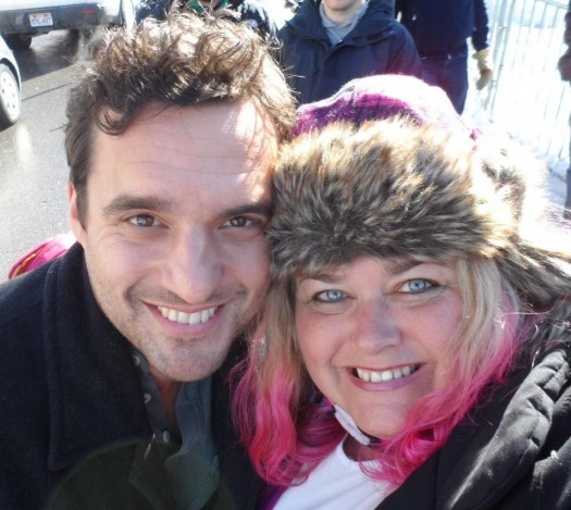 mike the fanboy's pretty in pinky with NEw Girl's Jake Johnson at the 2012 Sundance Film Festival