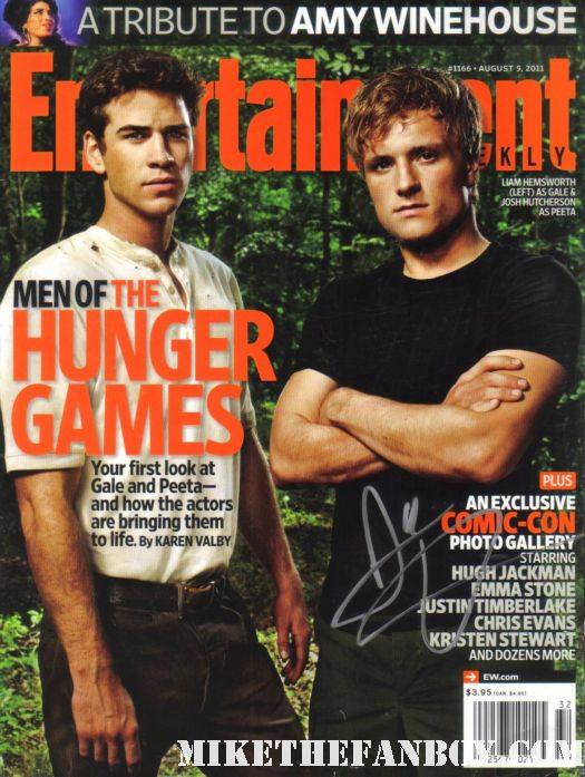 josh hutcherson signed hunger games entertainment weekly magazine cover with liam hemsworth rare hot sexy promo