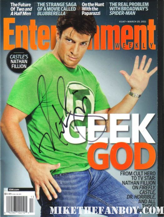 nathan fillion signed autograph entertainment weekly magazine cover geek god rare hot sexy