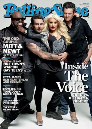 Christina aguilera the voice rare rolling stone magazine cover adam levine blake shelton cee-lo rare promo hot sexy magazine cover February 2012
