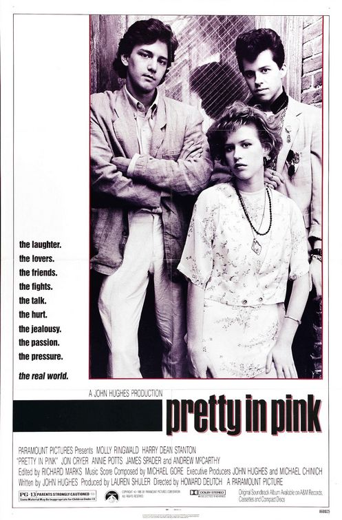 pretty_in_pink rare promo movie poster promo one sheet molly ringwald andrew mccarthey jon cryer