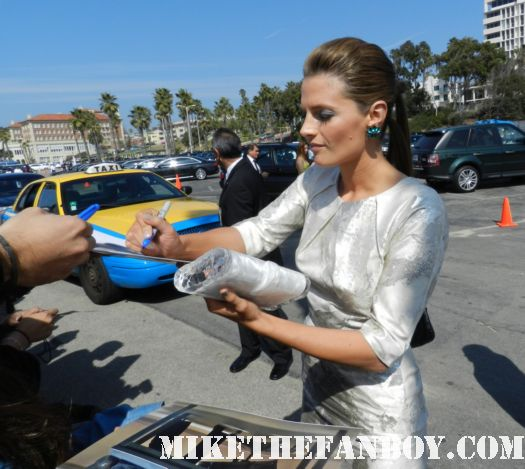 Stana Katic hot sexy star of castle hot sexy signs autographs for fans at the  Independent Spirit Awards 2012