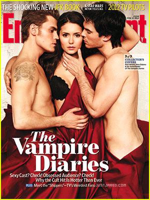 vampire-diaries-ew-cover sexy hot naked vampire diaries cast shirtless magazine cover paul wesley ian somerhaulder nina dobrev