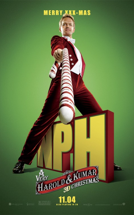 very_harold_and_kumar_christmas_ver4 neil patrick harris rare promo individual promo poster big stick rare hot sexy