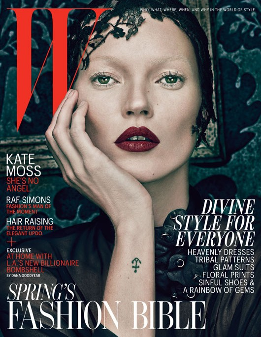 w magazine march 2012 with dual covers by kate moss hot and sexy rare photo shoot nun divine style promo rare