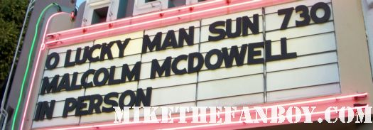 malcolm mcdowell marquee at the aero theatre in santa monica california rare promo signing autographs rare promo