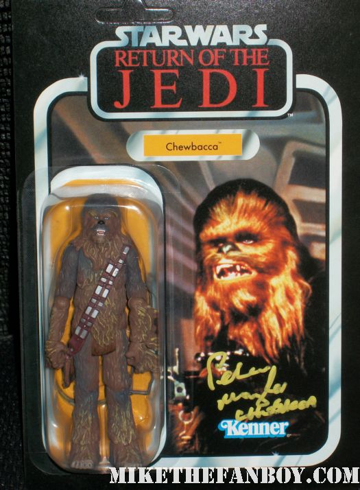 Star Wars Legend Peter Mayhew  Chewbacca signed autograph action figure at wondercon 2012 rare promo hand signed autograph rare