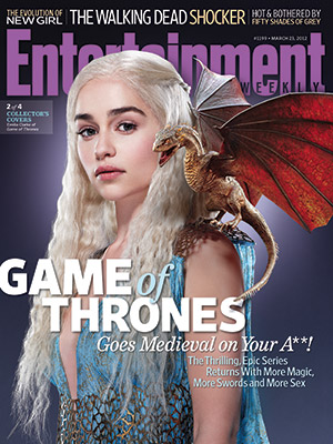 entertainment weekly magazine game of thrones magazine cover Emilia Clarke as Daenerys Targaryen, hot sexy photo shoot rare promo