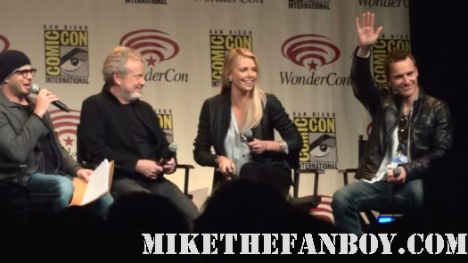 ridley scott and charlize theron with michael fassbender at the wondercon 2012 panel for prometheus
