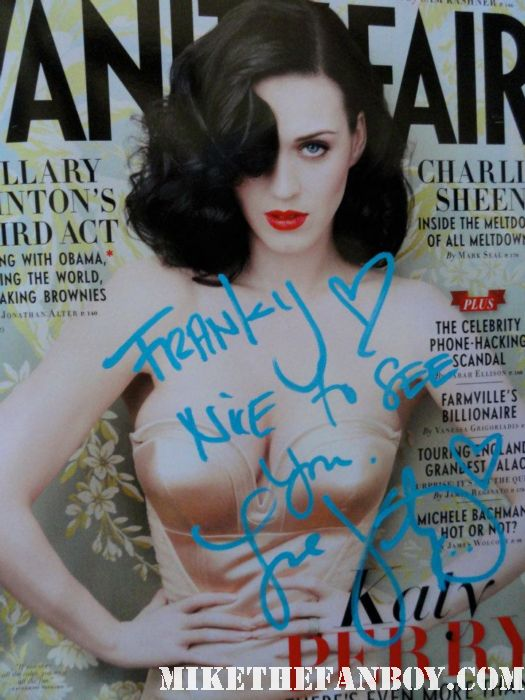 katy perry signed autograph vanity fair magazine rare katy perry posing for a fan photo with franky love from mike the fanboy at her eyelash signing at the americana in glendale ca