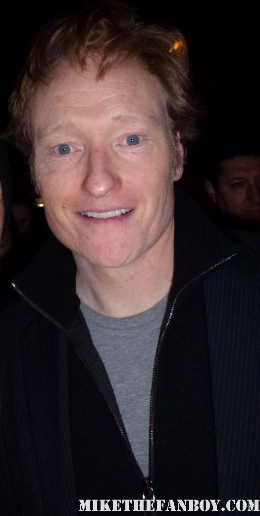 Conan O'Brien signing autographs for fans at the indie spirit awards and posing for fan photos
