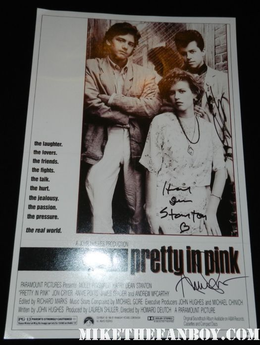jon cryer harry dean stanton annie potts signed autograph pretty in pink mini counter standee =movie poster rare promo
