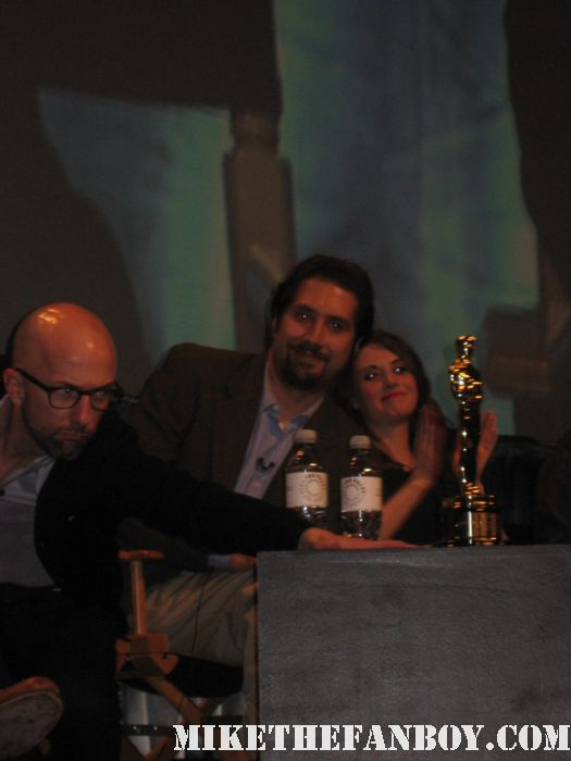 Don't mind my award Jim Rash a.k.a. Dean Pelton showing off his academy award at the community paleyfest panel 2012