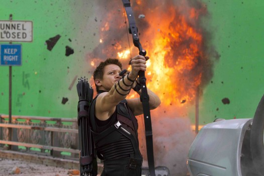 jeremy renner looking sexy and hot in the avengers press promo still muscle flex photo shoot behind the scenes