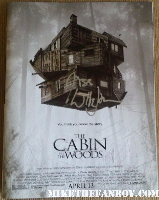 joss whedon signed autograph cabin in the woods promo mini poster promo chris hemsworth rare hot movie poster