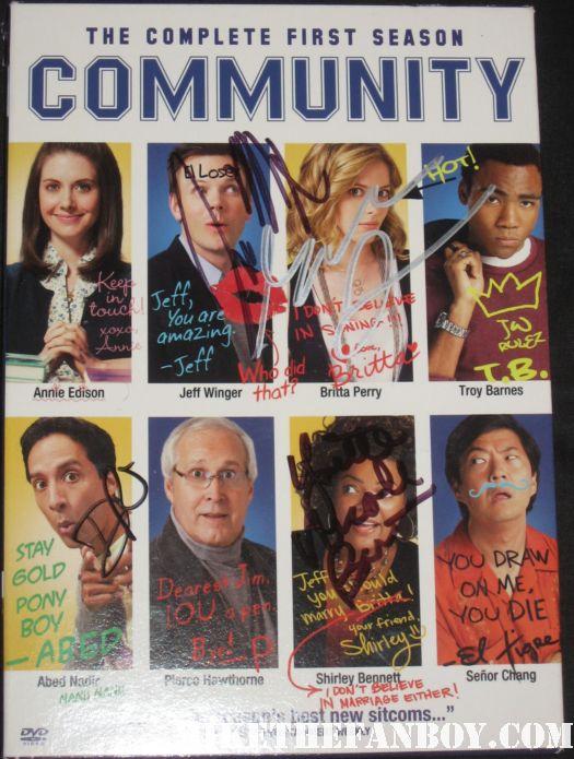 community signed autograph season 1 dvd set joel mchale chevy chase alison brie hot rare promo NBC paleyfest