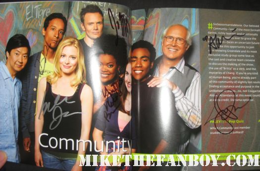 community paleyfest 2012 program joel mchale signed autograph rare promo chevy chase alison brie