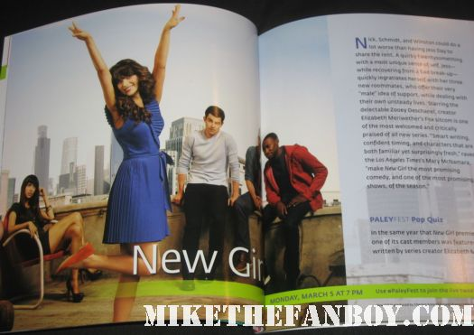 New Girl paleyfest press photo paley program zooey deschanel max greenfield rare promo