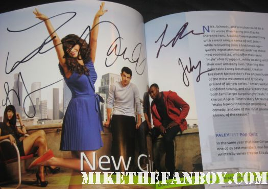 new girl signed autograph paleyfest program book zooey deschanel max greenfield jake johnson Lamorne Morris signing autographs at the new girl paleyfest 2012