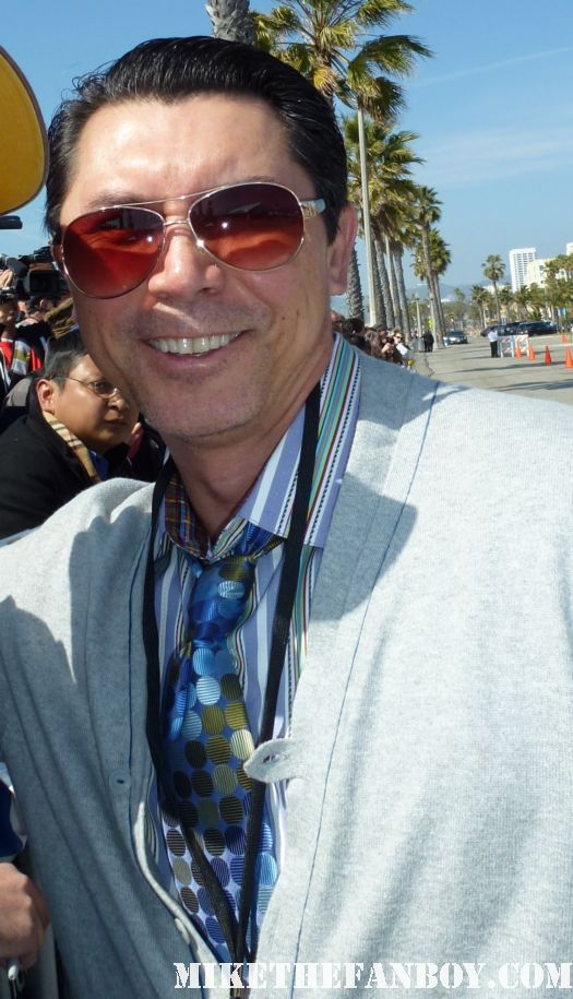 Lou Diamond phillips  signing autographs for fans at the indie spirit awards and posing for fan photos