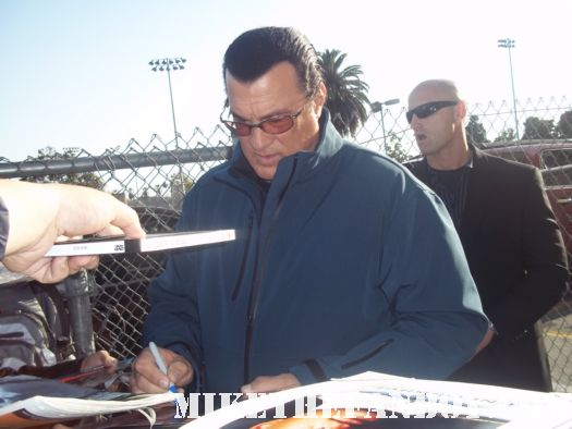 Steven Seagal signs autographs for fans at jimmy kimmel live before taping a talk show appearance