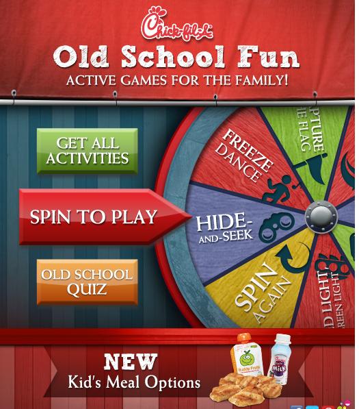chick fil a rare old school fun blog app widget spin the wheel win free kids meals rare!