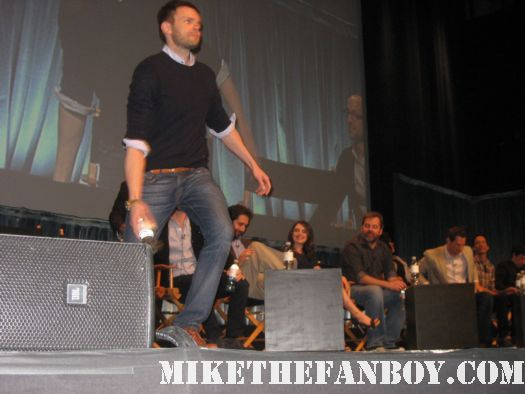 Tossing Water Joel McHale signing autographs for fans at paleyfest 2012 community panel saban theatre 2012 hot sexy the soup