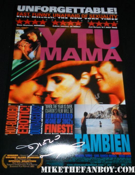 Gael García Bernal diego luna signed autograph y tu mama tambian promo mini movie poster hot sexy film spanish