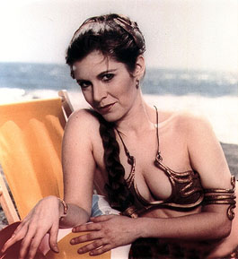 carrie fisher as slave leia from return of the jedi sexy hot star wars princess leia jabba the hut rare promo boob