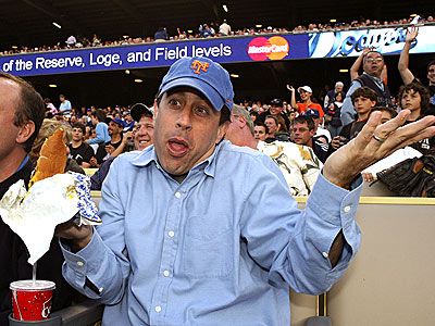 jerry_seinfeld rare promo photo at a baseball game enjoying a nice hot dog and not wanting to meet fans