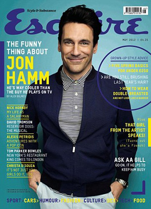 jon-hamm sexy magazine cover british esquire magazine May 2012 rare promo don draper signed rare mad men star rare