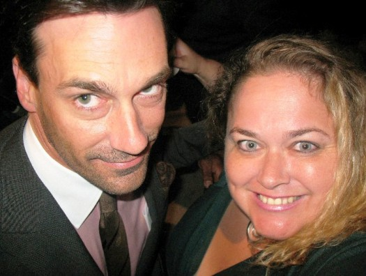 jon hamm poses with pinky from pretty in pinky at the mad men season 5 premiere in hollywood