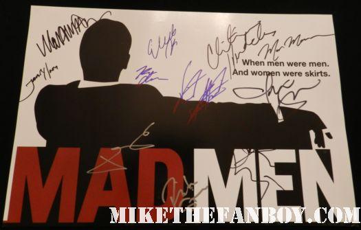 mad men rare promo cast signed autograph logo poster jon hamm christina hendricks elizabeth moss john slattery january jones rich sommer