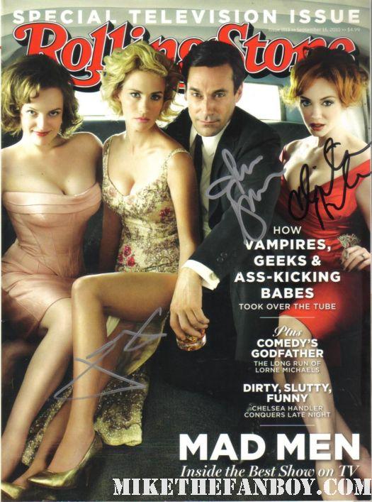 mad men rolling stone signed autographed by jon hamm christina hendricks january jones rare paleyfest 2012 hot