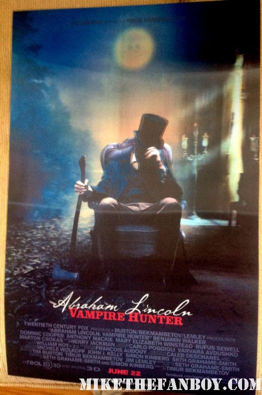 abraham lincoln vampire hunter rare lenticular mini movie poster promo wondercon 2012 swag ridley scott poster