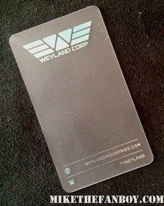 Weyland Corp rare promo business card wondercon 2012 prometheus panel with ridley scott michael fassbender charlize theron