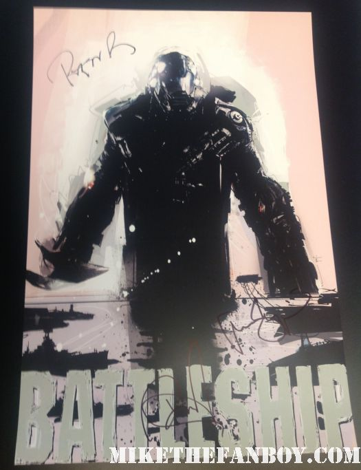 brooklyn decker peter berg alexander skarsgard signed autograph battleship rare promo mini poster promo wondercon 2012