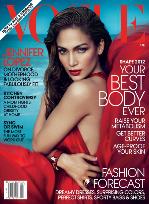 Jennifer Lopez on the cover of the april 2012 issue of Vogue Magazine rare promo hot sexy JLO jenny from the block hot sexy photo shoot