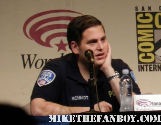 Jonah hill in a police uniform at the 21 jumpstreet panel at wondercon 2012 hot sexy channing tatum rare promo